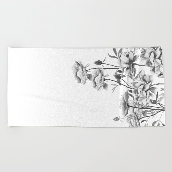 black and white peonies Beach Towel