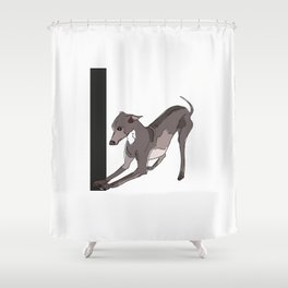 I is for Italian Greyhound Shower Curtain