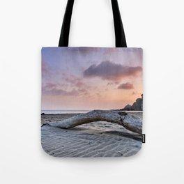 Half Moon Beach. Red sky Tote Bag