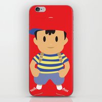 earthbound iPhone & iPod Skins featuring Ness - Earthbound - Super Smash Brothers - Minimalist by Adrian Mentus