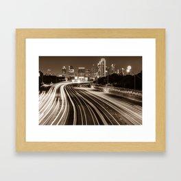 Dallas Skyline at Night - Sepia - Texas Art Framed Art Print