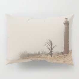 Little Sable Point Lighthouse Lake Michigan Fog Sand Winter Pillow Sham