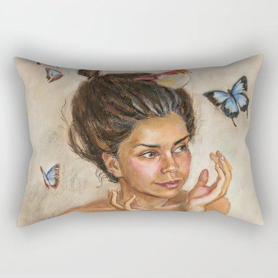 Girl with butterflies Rectangular Pillow