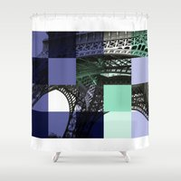 eiffel Shower Curtains featuring EIFFEL by Marcela Solana