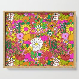 60's Groovy Garden in Neon Peach Coral Serving Tray