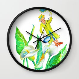 God save the Queen and the calla lilies Wall Clock