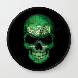 Dark Skull with Flag of Saudi Arabia Wall Clock