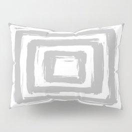 Minimal Light Gray Brush Stroke Square Rectangle Pattern Pillow Sham