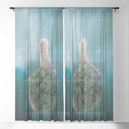 Thumbs up – surreal Island in a lake Sheer Curtain