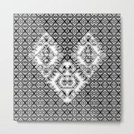 Black White Aztec 2 Metal Print