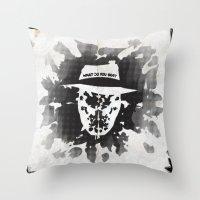 rorschach Throw Pillows featuring Rorschach by Vickn