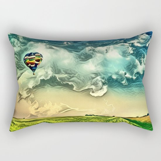 Air Balloon in the Sky with Clouds over the Landscape Rectangular Pillow