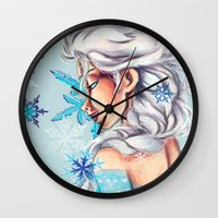 frozen elsa Wall Clocks featuring Elsa - Frozen by MissMachineArt