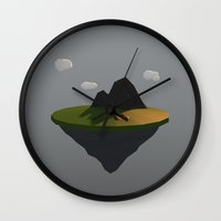 low poly Wall Clocks featuring Low Poly by Mónica Villar