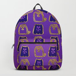 Cute whimsical Gold and purple Cat Pattern Backpack