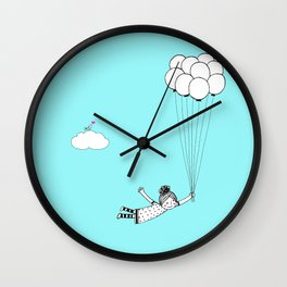 Hand Drawn Girl Flying With Balloons Wall Clock