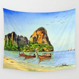 Long-tail Boats At Railay Beach Krabi Thailand Wall Tapestry