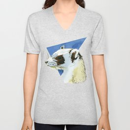 Cute ferret drawing - aesthetic polecat art - watercolor wildlife chestnut decor - white ferret art Unisex V-Neck
