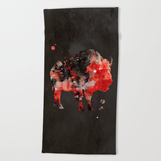 Watercolor Buffalo Bison Painting Black Red Grunge Beach Towel