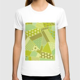 Graphic Leaf Patchwork (Spring Green Bold Colors) T-shirt
