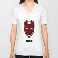 ironman V-neck T-shirts featuring IRONMAN by agustain