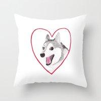 valentine Throw Pillows featuring Valentine by okayleigh