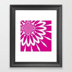 Magenta & White Modern Flower Framed Art Print