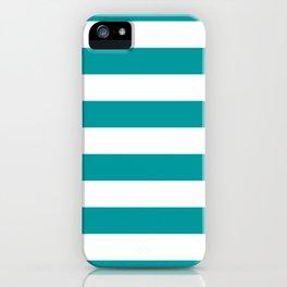 Horizontal Stripes Pattern: Teal iPhone Case
