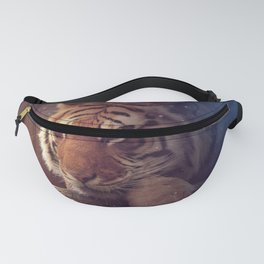 Marvelous Fascinating Fantasy Tiger Observing Glowing Pixie Butterfly Ultra HD Fanny Pack