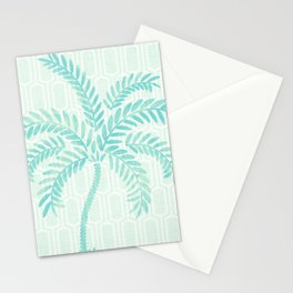Mint Tropical Palm / Watercolor Collage Stationery Cards