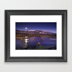 moonlight over the mountains Framed Art Print