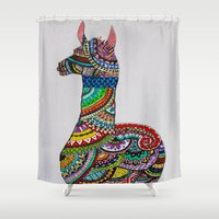 llama Shower Curtains featuring Llama Loud, Llama Proud by Caballos of Colour