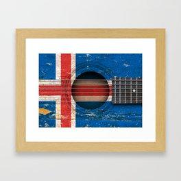 Old Vintage Acoustic Guitar with Icelandic Flag Framed Art Print