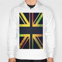 british flag Hoodies featuring RASTA BRITISH FLAG by shannon's art space