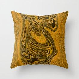 Black and gold liquid merger Throw Pillow