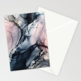 Blush, Navy and Gray Abstract Calm Clouds Stationery Cards