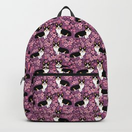 Welsh corgi tricolored cherry blossoms botanical florals japanese flowers dog breed corgis Backpack