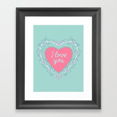 pink heart with love Framed Art Print