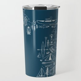 Michigan Up North Navy Collage Travel Mug