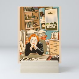 Dana Scully sit to the Fox Mulder's office Mini Art Print