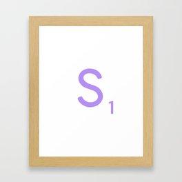 Purple S Scrabble Monogram Art Framed Art Print