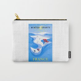 1954 FRANCE Winter Sports Travel Poster Carry-All Pouch