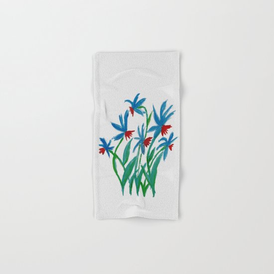 Hand painted watercolor floral blue and red flowers by annaki