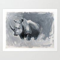 rhino Art Prints featuring Rhino by Jacey's Creations