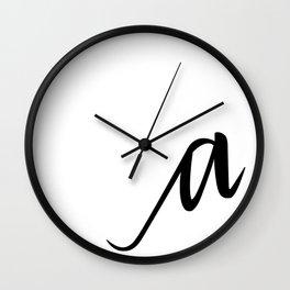 Lowercase Script. 'a' Wall Clock