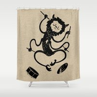 monster inc Shower Curtains featuring Monster by Anya Volk