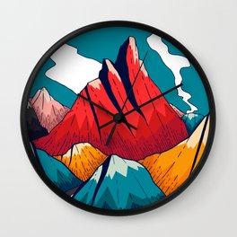 Smoke trail mountains Wall Clock