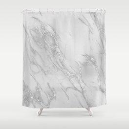 Marble Love Silver Metallic Shower Curtain