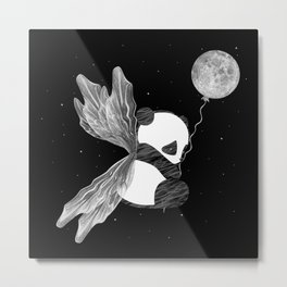 Space Angel Panda Bear - black and white Metal Print