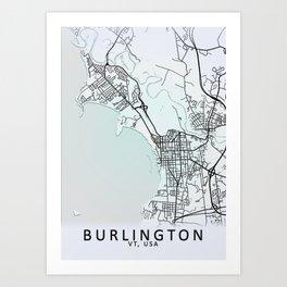 Burlington VT USA White City Map Art Print